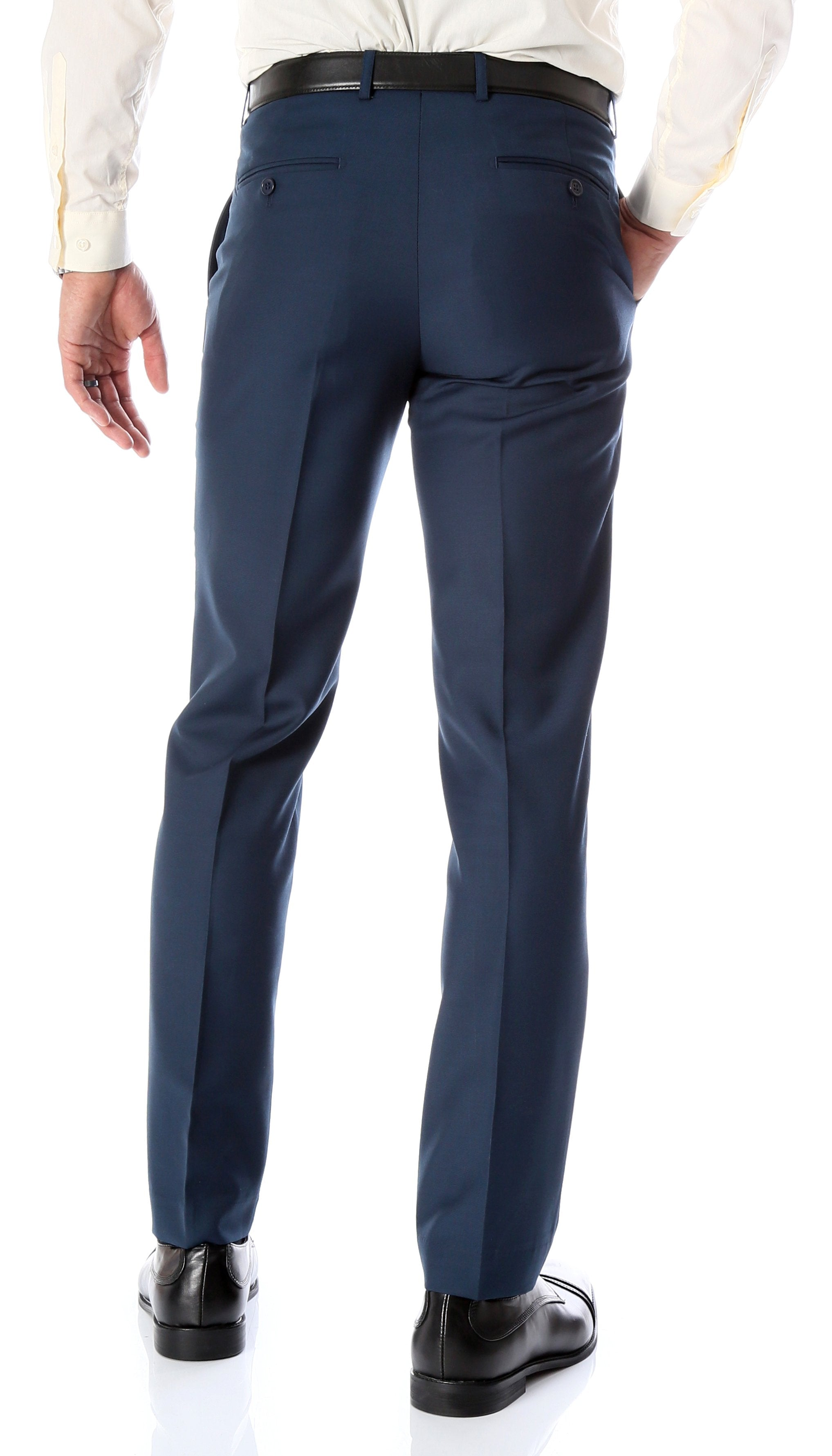 Ferrecci Men's Halo Navy Slim Fit Flat-Front Dress Pants - Giorgio's Menswear