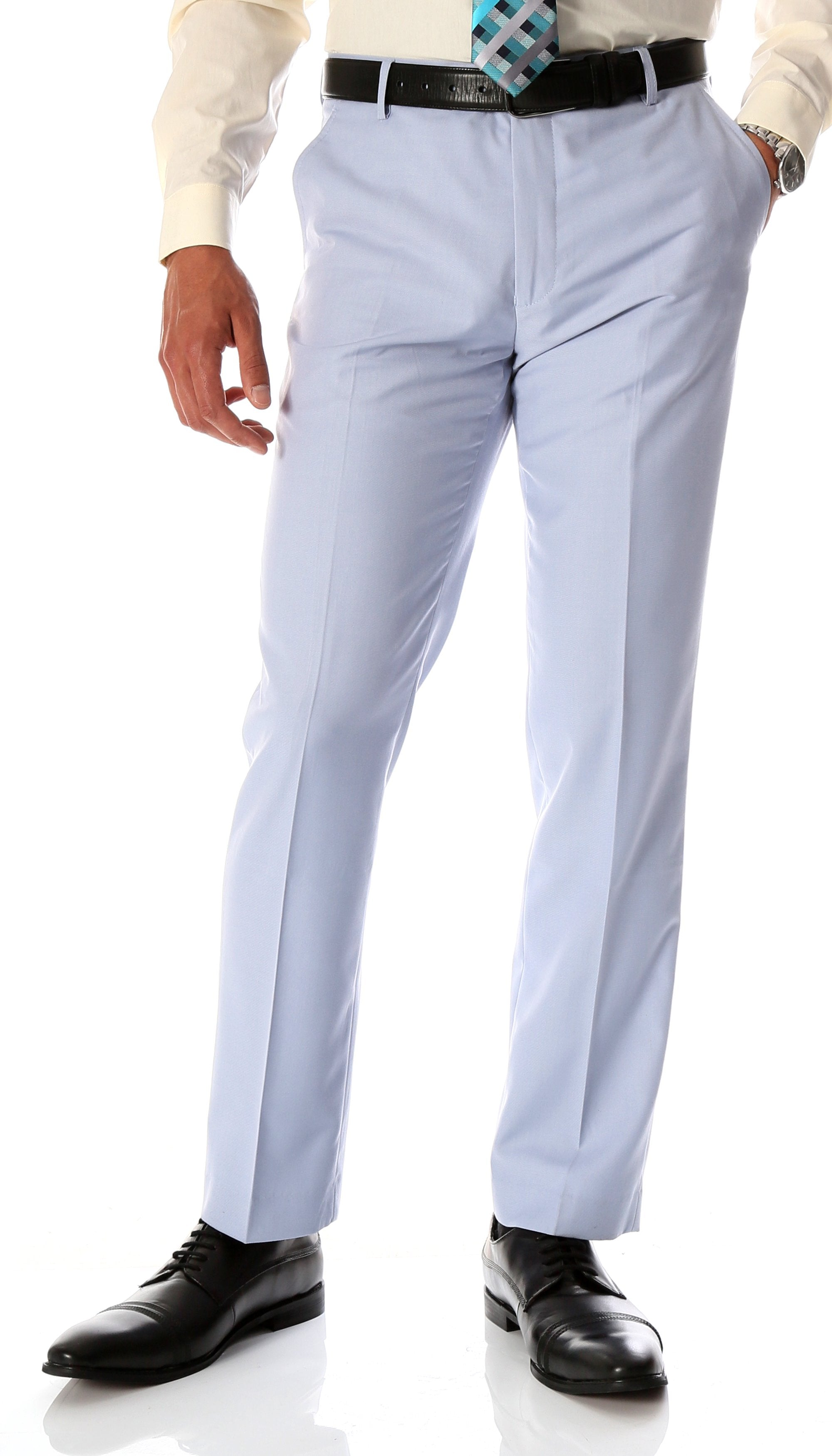 Ferrecci Men's Halo Sky Blue Slim Fit Flat-Front Dress Pants - Giorgio's Menswear