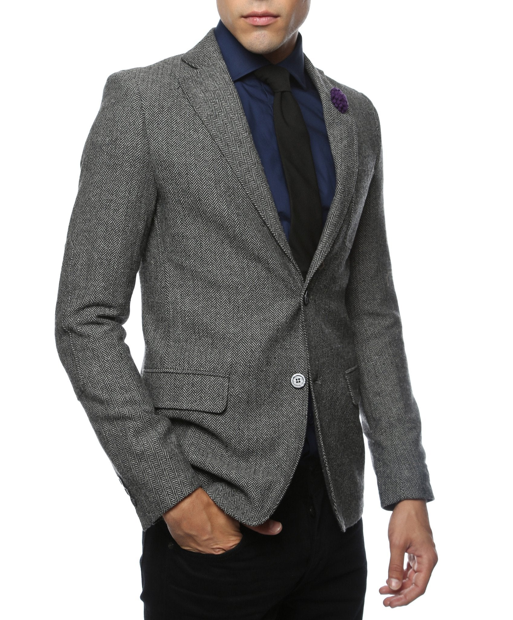The Hardy Grey Herringbone Super Slim Fit Mens Blazer - Giorgio's Menswear