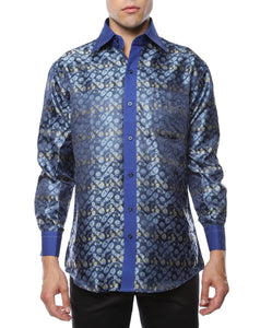 Ferrecci Men's Satine Hi-1009 Blue Flower Button Down Dress Shirt - Giorgio's Menswear