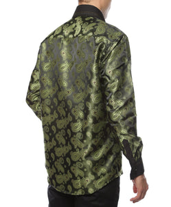 Ferrecci Men's Satine Hi-1010 Green Paisley Button Down Dress Shirt - Giorgio's Menswear