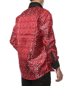 Ferrecci Men's Satine Hi-1015 Red & Black Flower Button Down Dress Shirt - Giorgio's Menswear