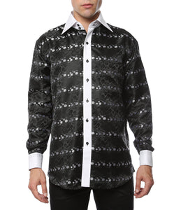 Ferrecci Men's Satine Hi-1018 Black & White Flower Button Down Dress Shirt - Giorgio's Menswear