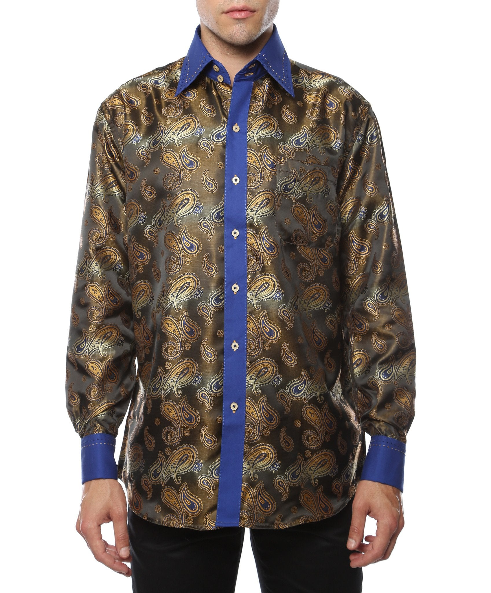 Ferrecci Men's Satine Hi-1019 Blue & Gold Tone Paisley Button Down Dress Shirt - Giorgio's Menswear