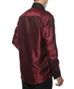 Ferrecci Men's Satine Hi-1023 Burgundy Red and Black Circle Pattern Button Down Dress Shirt - Giorgio's Menswear