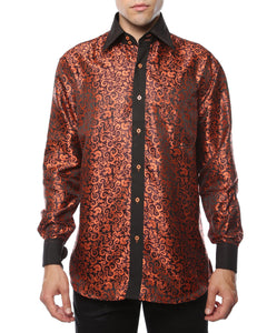 Ferrecci Men's Satine Hi-1024 Black & Orange Pattern Button Down Dress Shirt - Giorgio's Menswear
