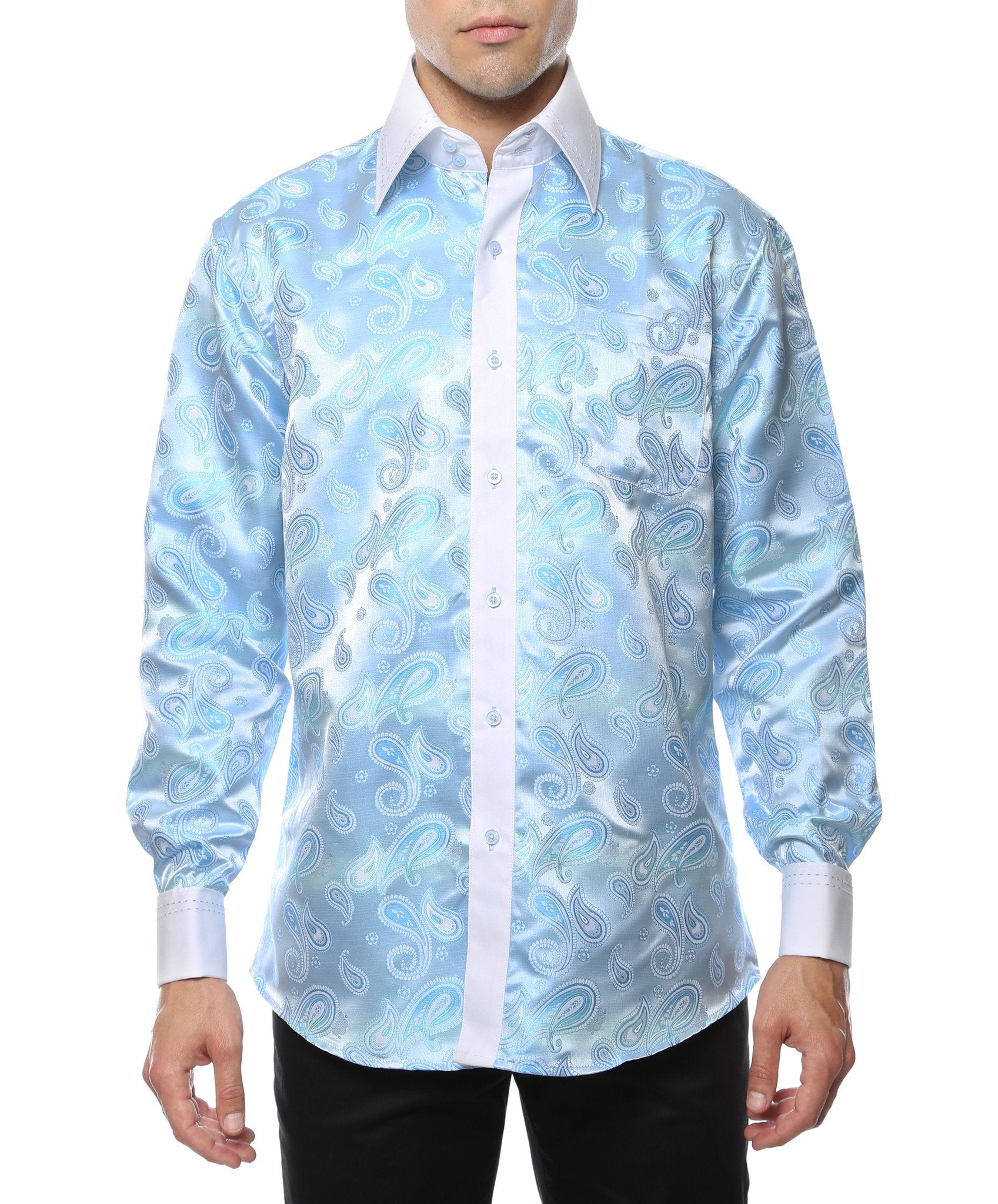 Ferrecci Men's Satine Hi-1025 Turquise Paisley Button Down Dress Shirt - Giorgio's Menswear