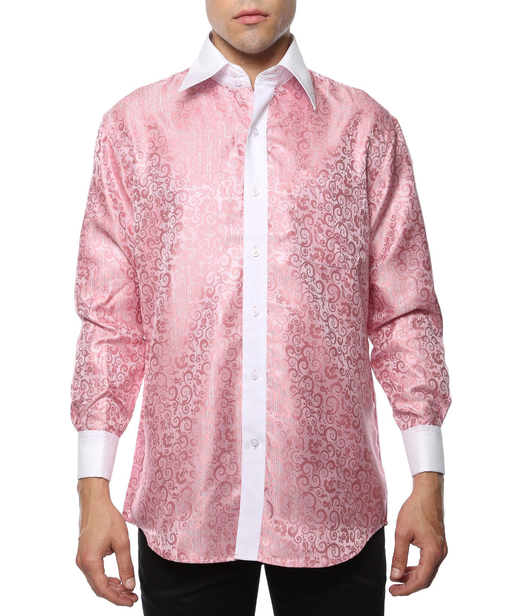 Ferrecci Men's Satine Hi-1027 Pink Pattern Button Down Dress Shirt - Giorgio's Menswear