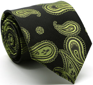Mens Dads Classic Green Paisley Pattern Business Casual Necktie & Hanky Set HO-3 - Giorgio's Menswear