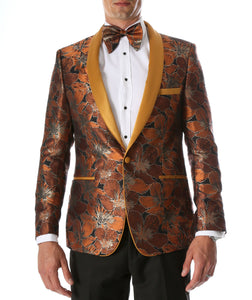 Men's Hugo Rust Floral Modern Fit Shawl Collar Tuxedo Blazer - Giorgio's Menswear