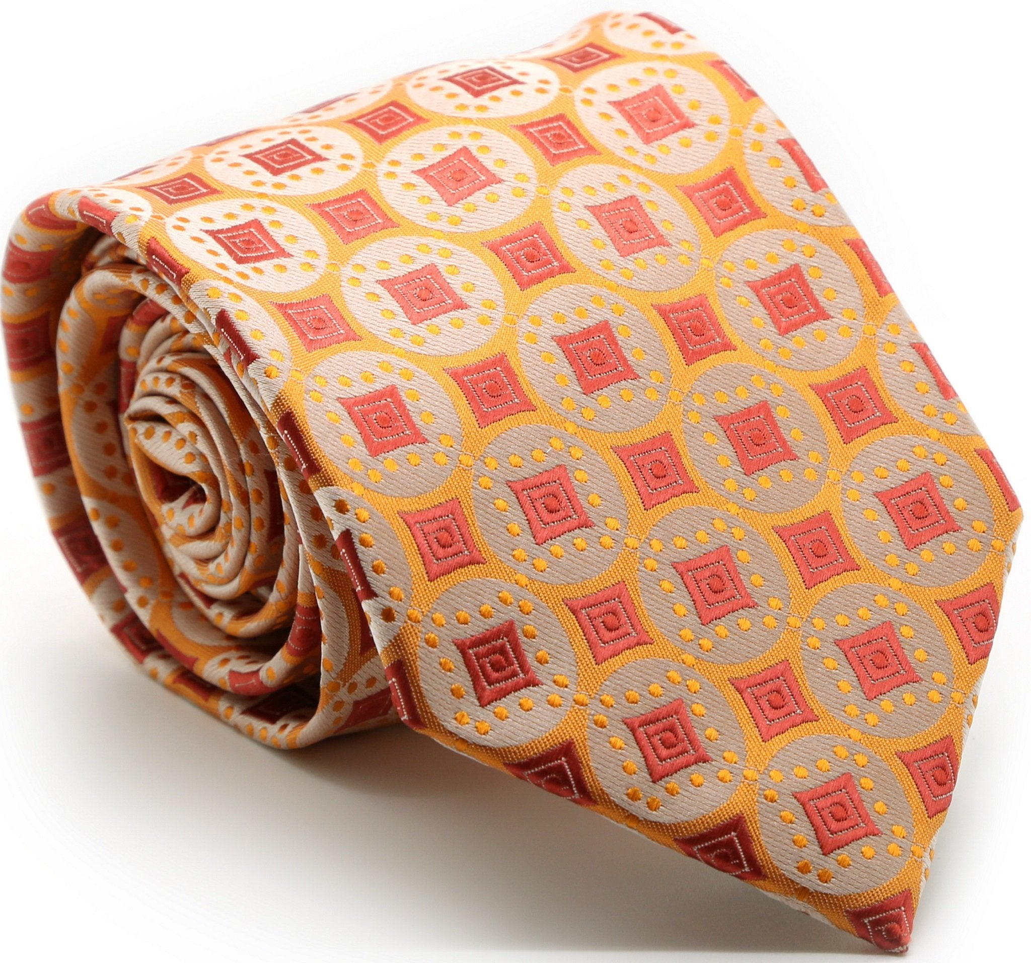 Mens Dads Classic Orange Geometric Pattern Business Casual Necktie & Hanky Set I-4 - Giorgio's Menswear