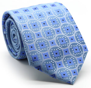 Mens Dads Classic Blue Geometric Pattern Business Casual Necktie & Hanky Set I-5 - Giorgio's Menswear