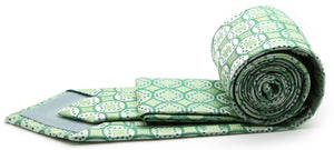 Mens Dads Classic Green Geometric Pattern Business Casual Necktie & Hanky Set I-6 - Giorgio's Menswear