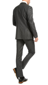 Mason Heather Grey Men's Premium 2pc Premium Wool Slim Fit Suit - Ferrecci USA