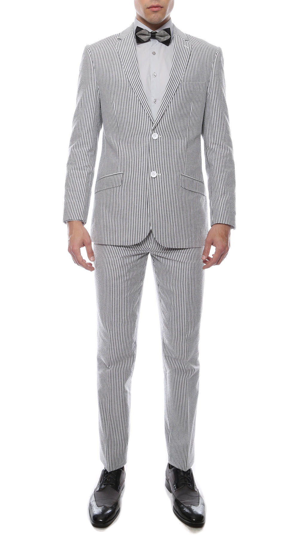 Premium Comfort Cotton Slim Black Seersucker Suit - Giorgio's Menswear