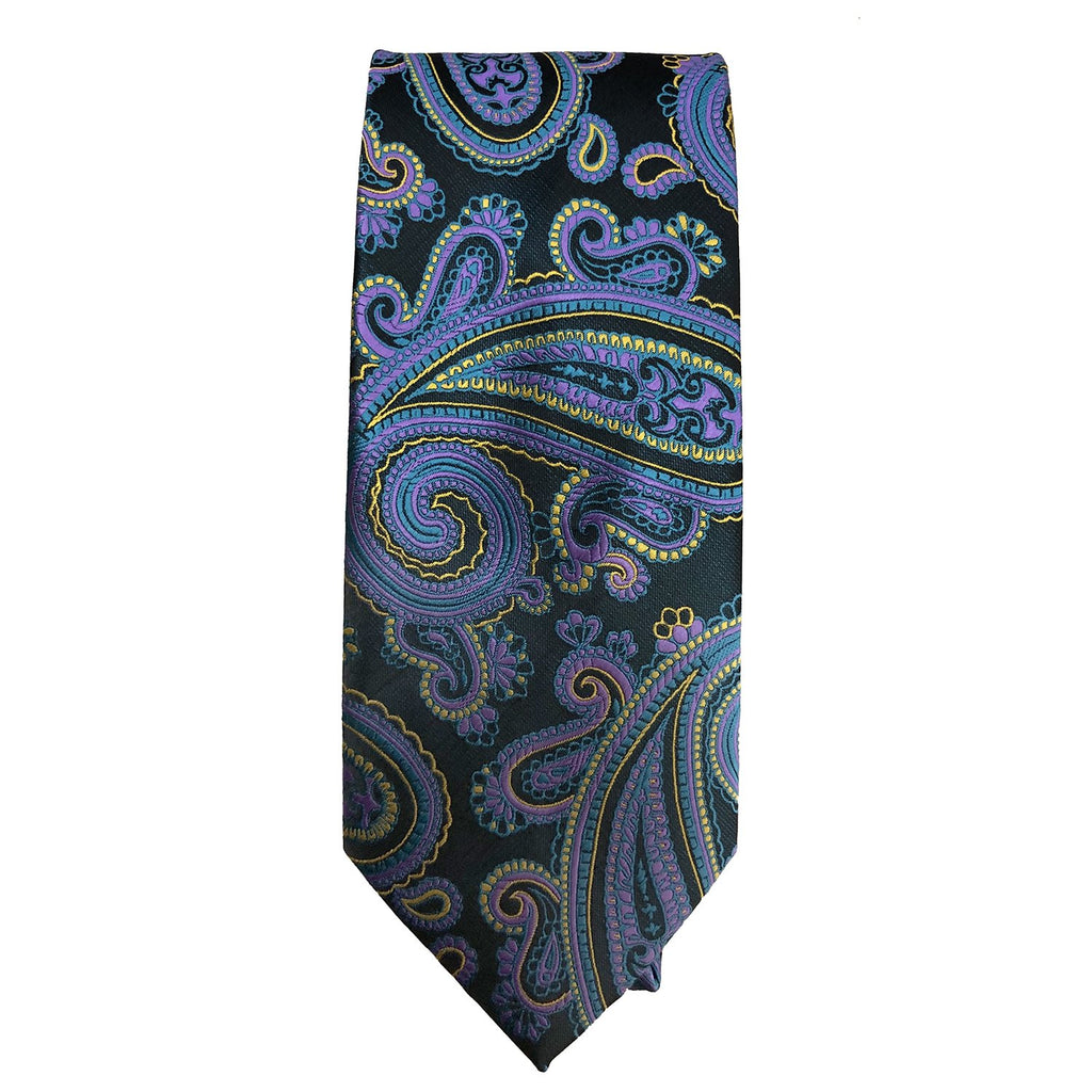 Men's Black, Purple and Yellow Paisley Tie - 10608 - Giorgio's Menswear