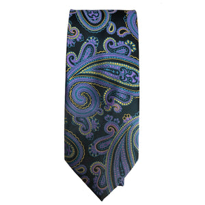 Men's Black, Purple and Yellow Paisley Tie - 10608 - Ferrecci USA