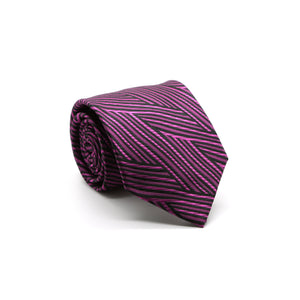 Mens Dads Classic Fuchsia Geometric Pattern Business Casual Necktie & Hanky Set IO-5 - Giorgio's Menswear