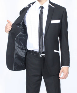 The JerseyBoy Black White Slim Fit Mens Blazer - Giorgio's Menswear