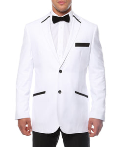 The JerseyBoy White Black Slim Fit Mens Blazer - Giorgio's Menswear