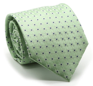 Mens Dads Classic Green Geometric Pattern Business Casual Necktie & Hanky Set K-2 - Giorgio's Menswear