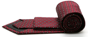 Mens Dads Classic Red Geometric Pattern Business Casual Necktie & Hanky Set K-6 - Giorgio's Menswear