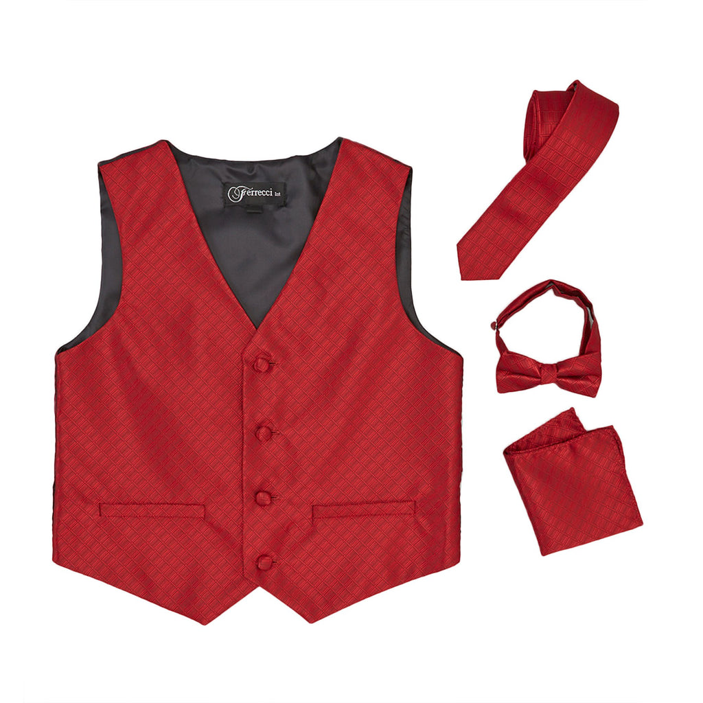 Premium Boys Wine Diamond Vest 300 Set - Giorgio's Menswear