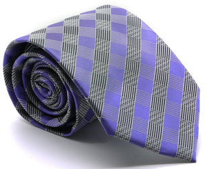 Mens Dads Classic Purple Stripe Pattern Business Casual Necktie & Hanky Set L-7 - Giorgio's Menswear