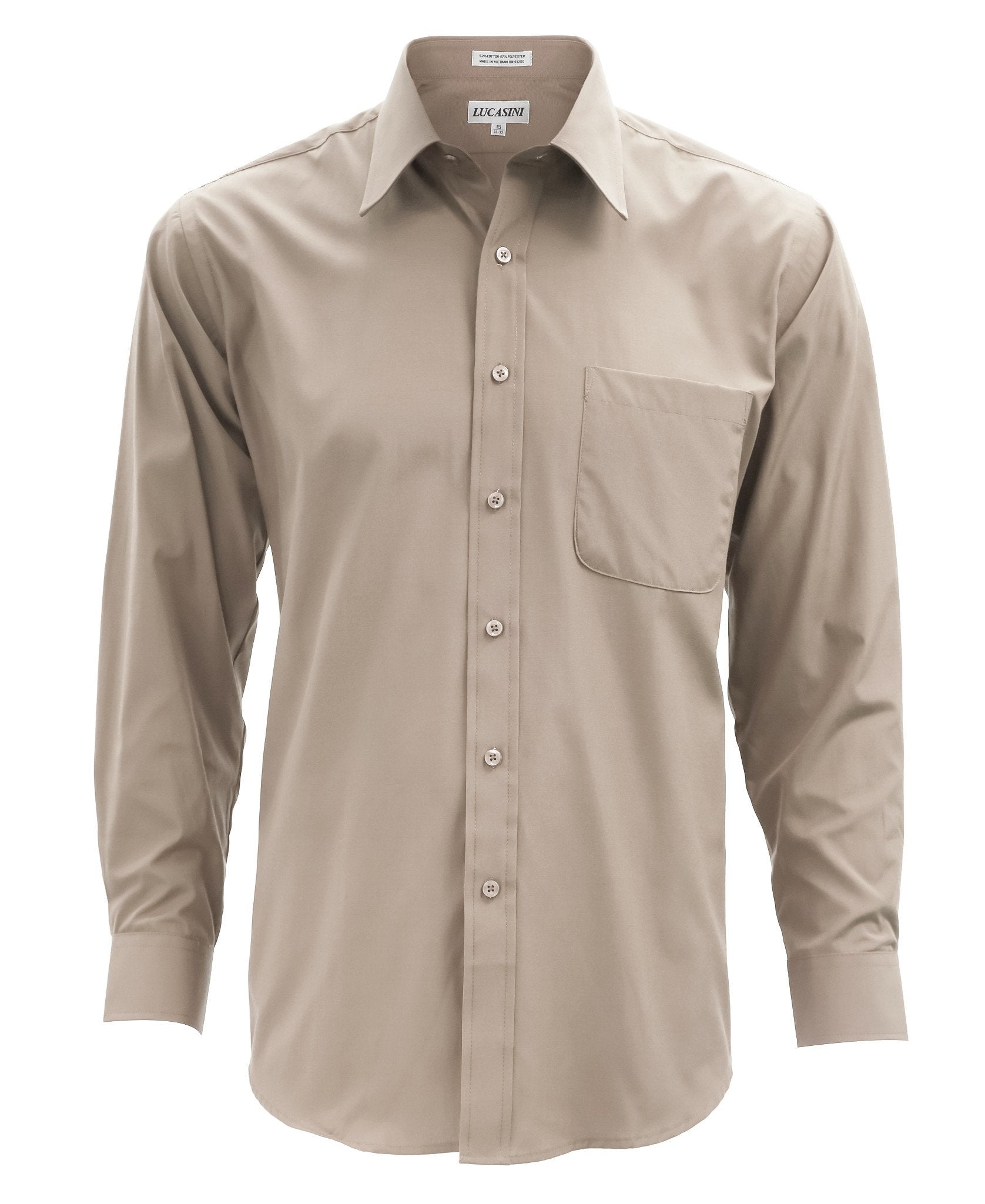 Lucasini Mens Tan Regular Fit 300 Series Dress Shirt - Giorgio's Menswear
