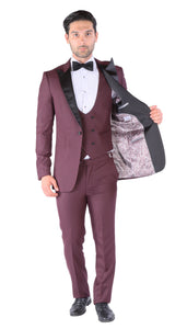 Luna 3pc Slim Fit Bugundy Peak Lapel Tuxedo - Giorgio's Menswear