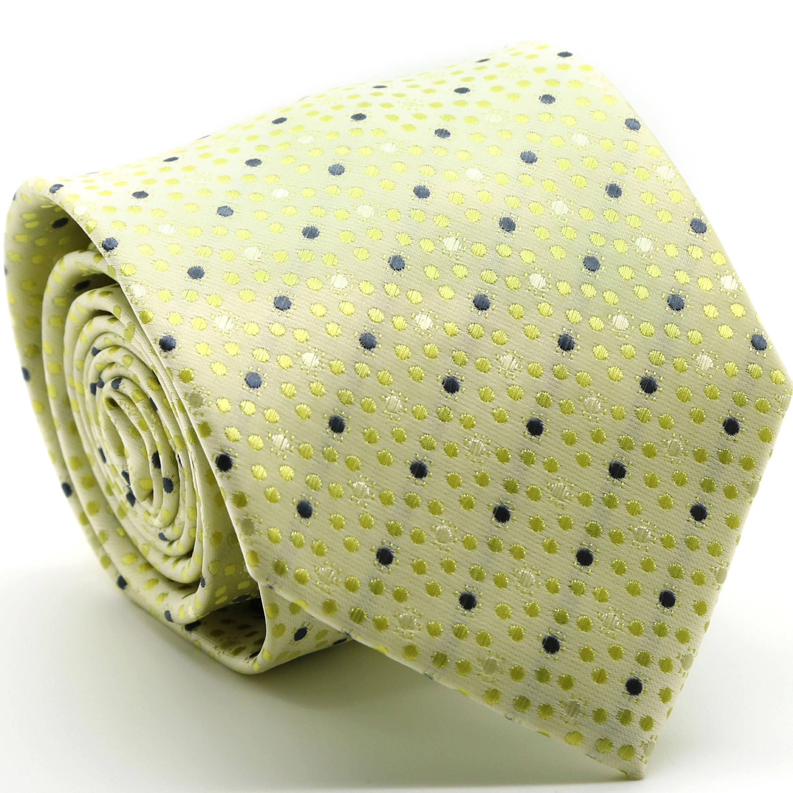 Mens Dads Classic Yellow Dot Pattern Business Casual Necktie & Hanky Set M-1 - Giorgio's Menswear