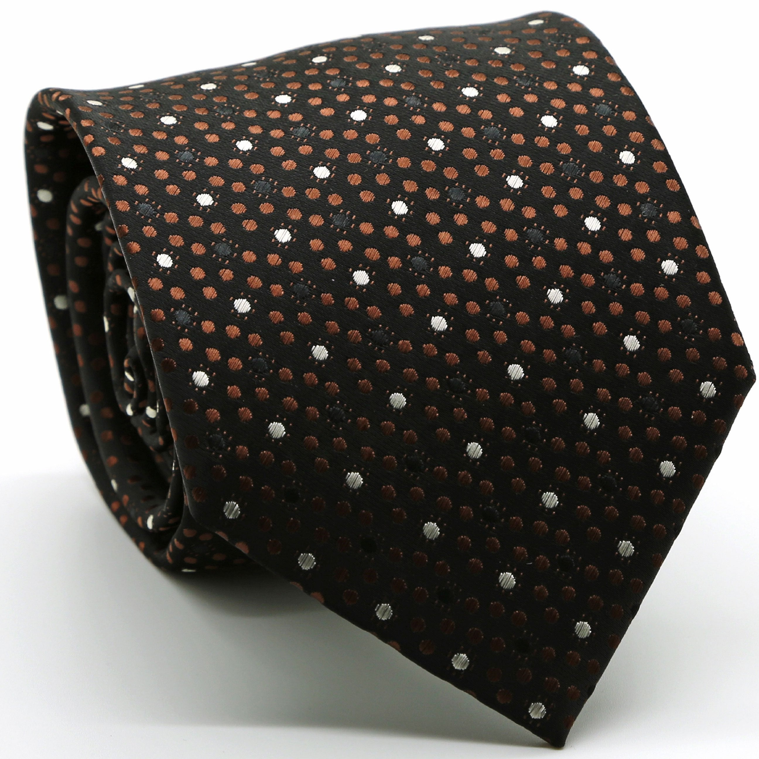 Mens Dads Classic Brown Dot Pattern Business Casual Necktie & Hanky Set M-2 - Giorgio's Menswear