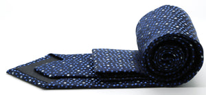 Mens Dads Classic Navy Dot Pattern Business Casual Necktie & Hanky Set M-8 - Giorgio's Menswear