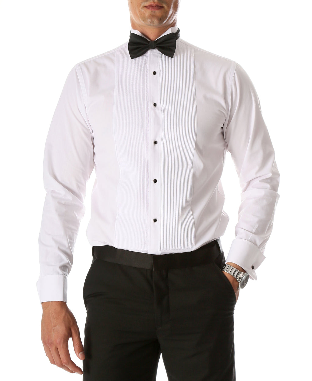 Ferrecci Men's Max White Slim Fit Wing Tip Collar Pleated Tuxedo Shirt - Giorgio's Menswear