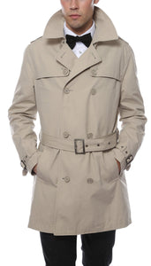 Premium Mens Mayfair Classic Fit Tan Trench Coat - Giorgio's Menswear