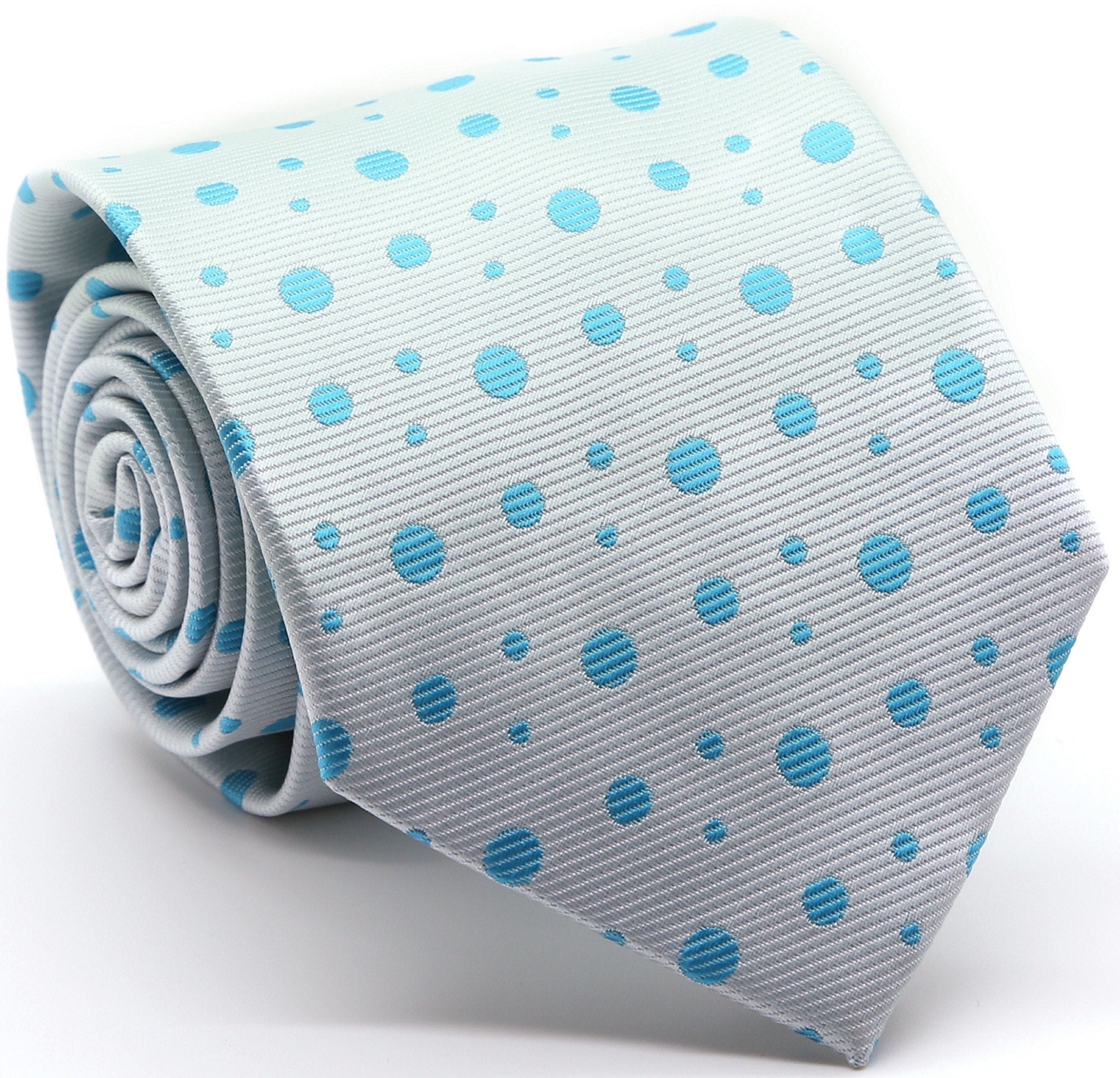 Mens Dads Classic Turquoise Circle Pattern Business Casual Necktie & Hanky Set MO-6 - Giorgio's Menswear