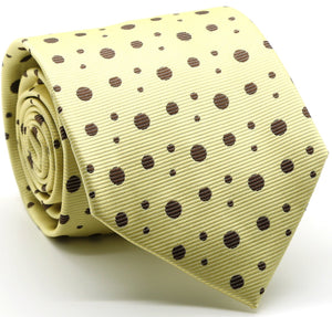 Mens Dads Classic Yellow Circle Pattern Business Casual Necktie & Hanky Set MO-8 - Giorgio's Menswear