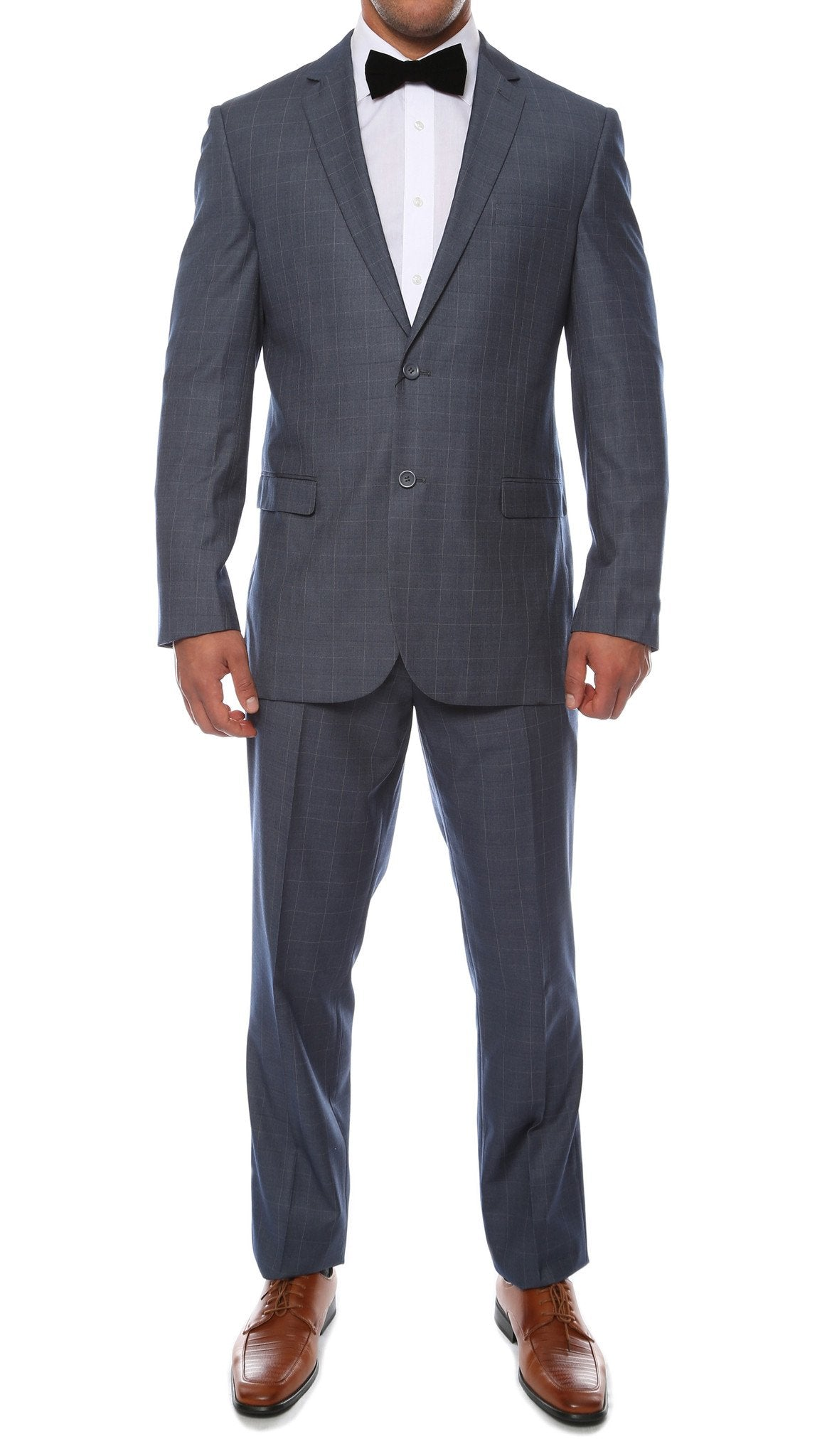 Moda Plaid Check Blue 2pc Slim Fit Suit - Giorgio's Menswear