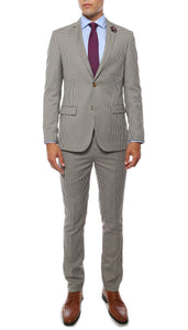 Monaco Hennessy Check Slim Fit 2pc Suit w Flower Pin - Giorgio's Menswear