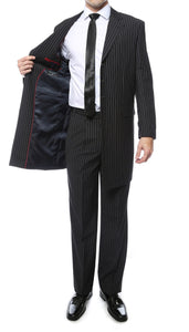New York Black Regular Fit Pin Stripe 2pc Zoot Suit - Giorgio's Menswear