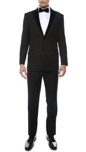 Noir Black Slim Velvet Peak Lapel 2pc Tuxedo - Giorgio's Menswear