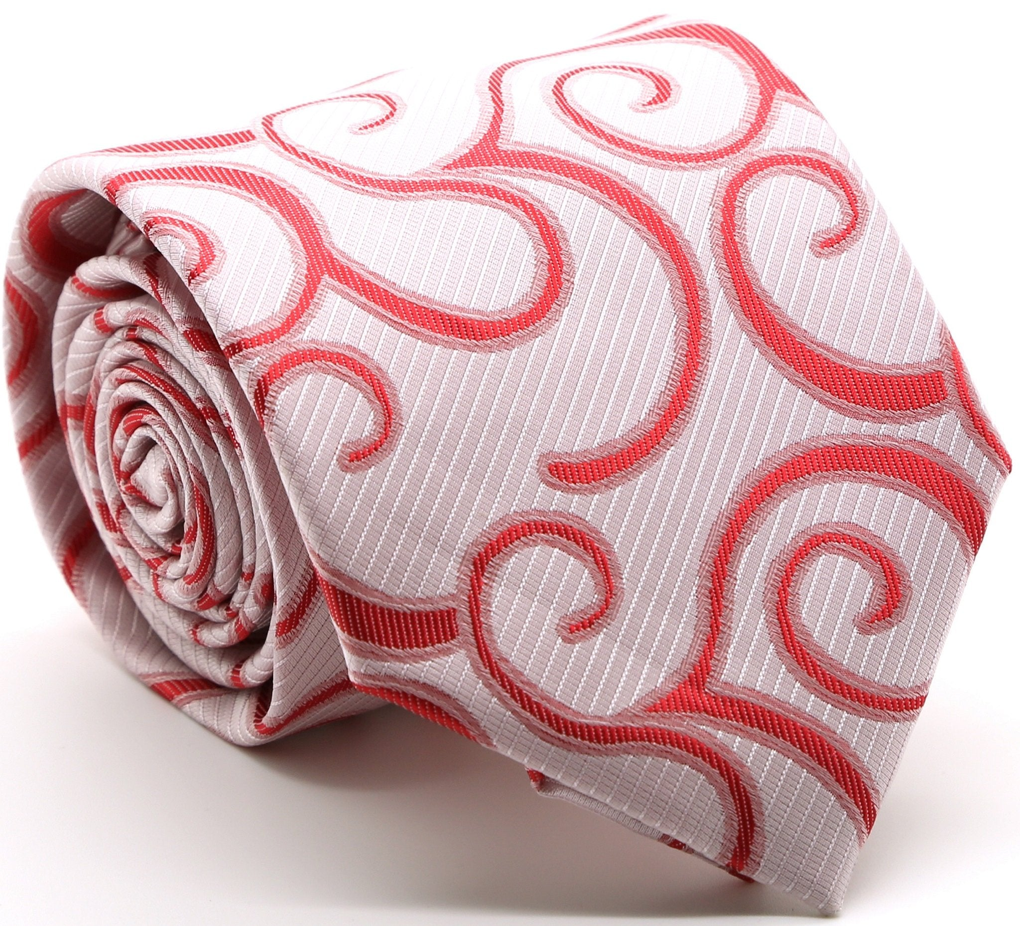 Mens Dads Classic Red Paisley Pattern Business Casual Necktie & Hanky Set O-4 - Giorgio's Menswear