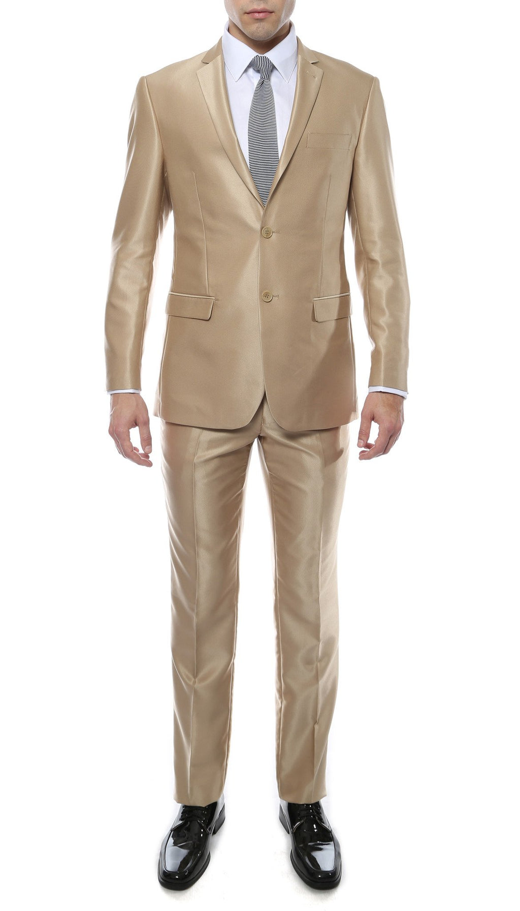 Oxford Champagne Sharkskin Slim Fit Suit - Giorgio's Menswear