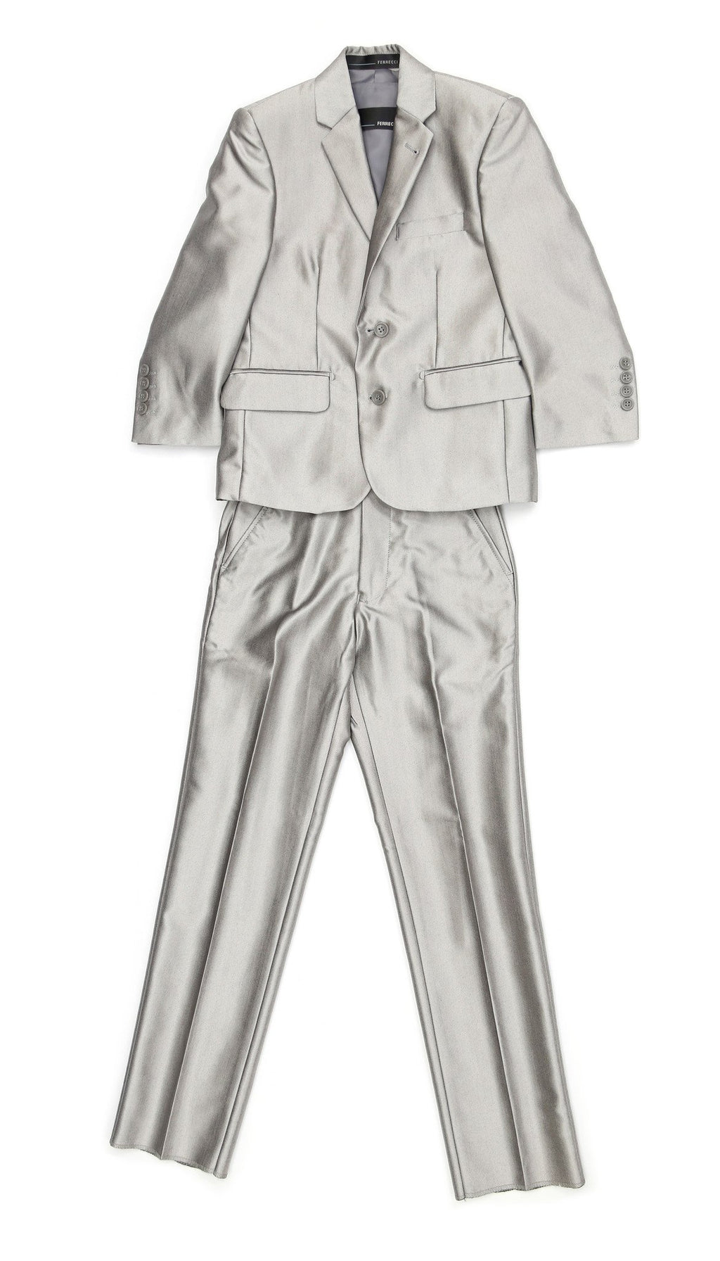 Boys Silver Shiny Sharkskin Oxford 3pc Vested Suit - Giorgio's Menswear