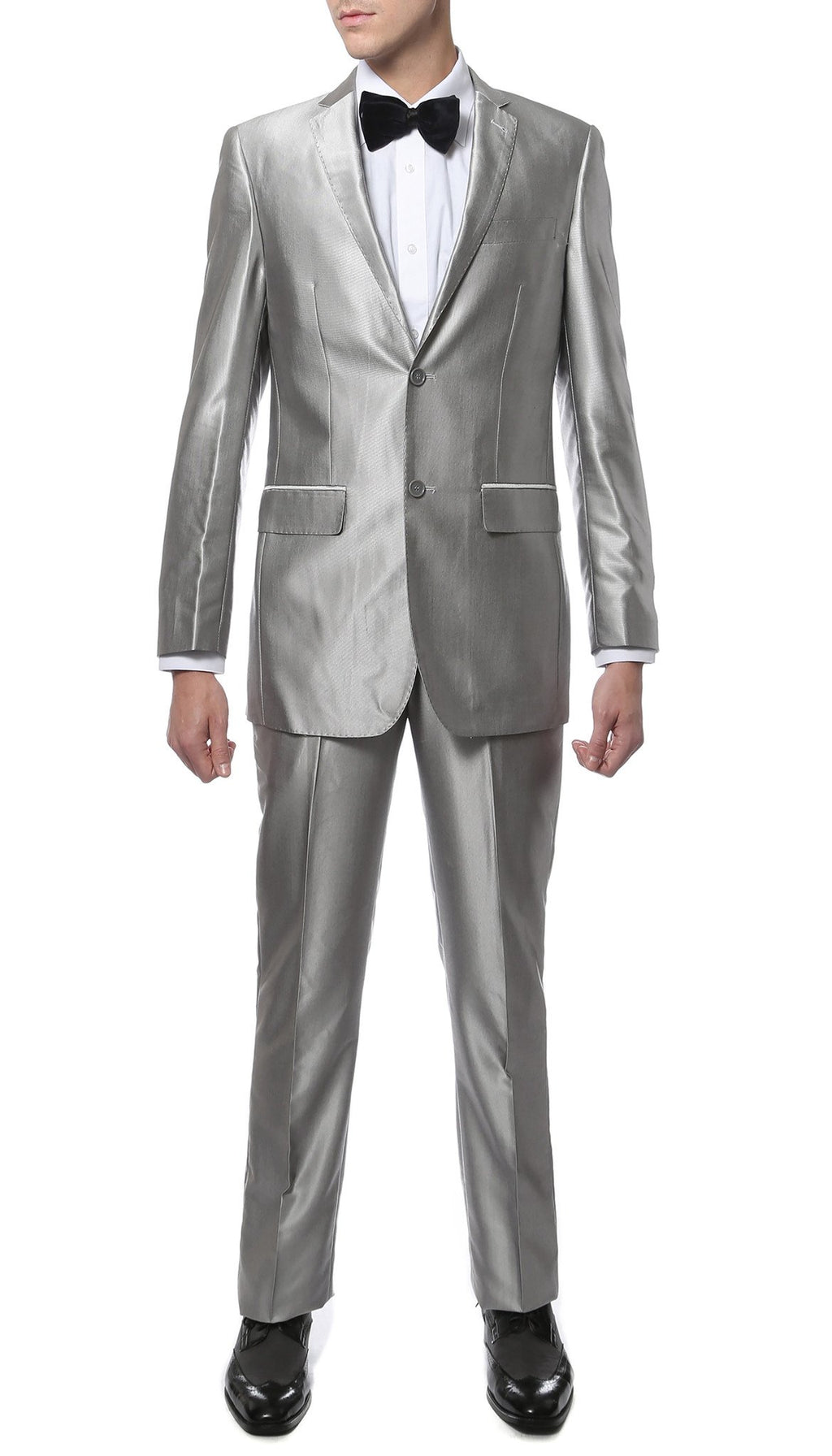 Oxford Silver Sharkskin Slim Fit Suit - Giorgio's Menswear