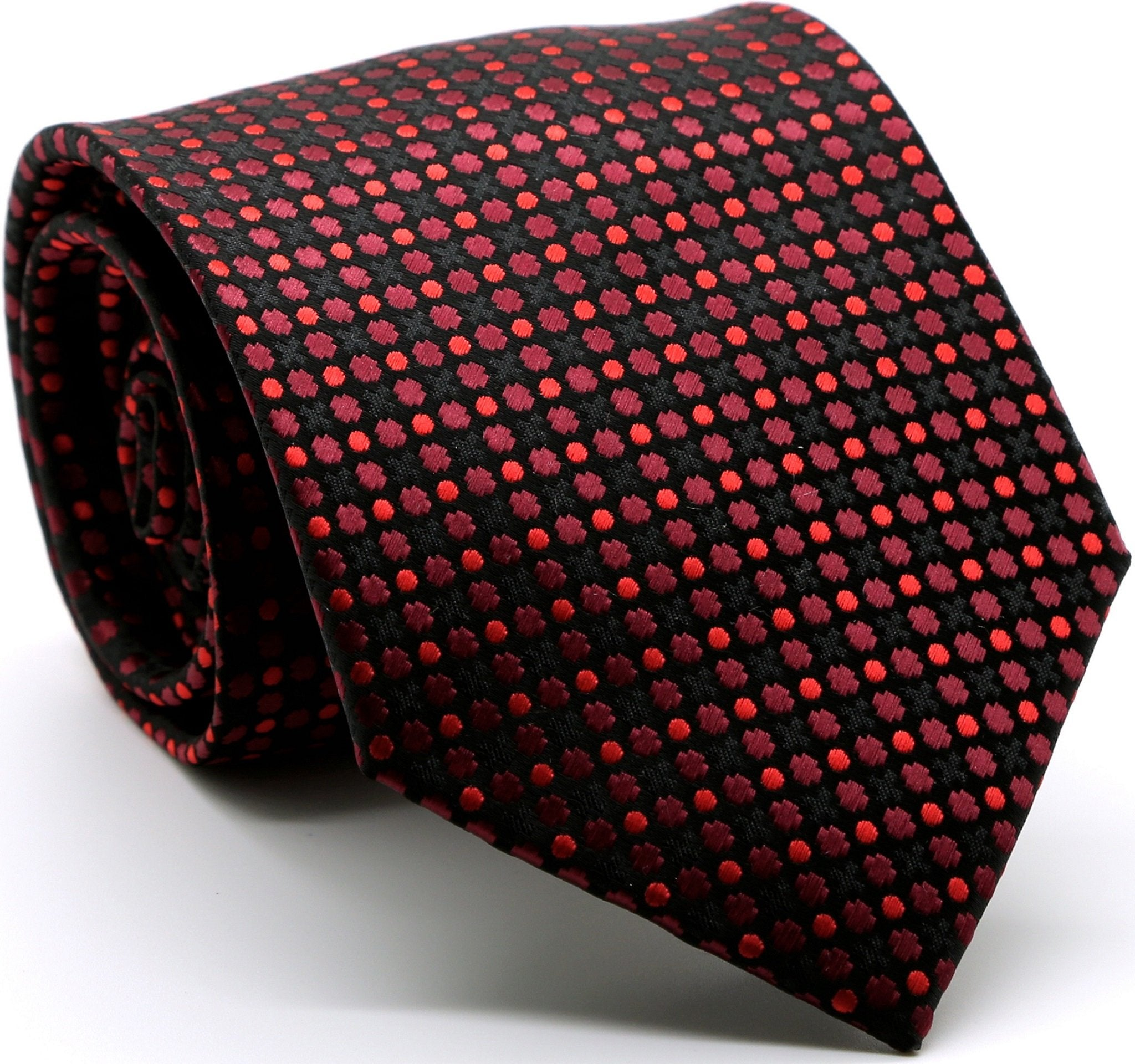 Mens Dads Classic Red Geometric Pattern Business Casual Necktie & Hanky Set P-1 - Giorgio's Menswear
