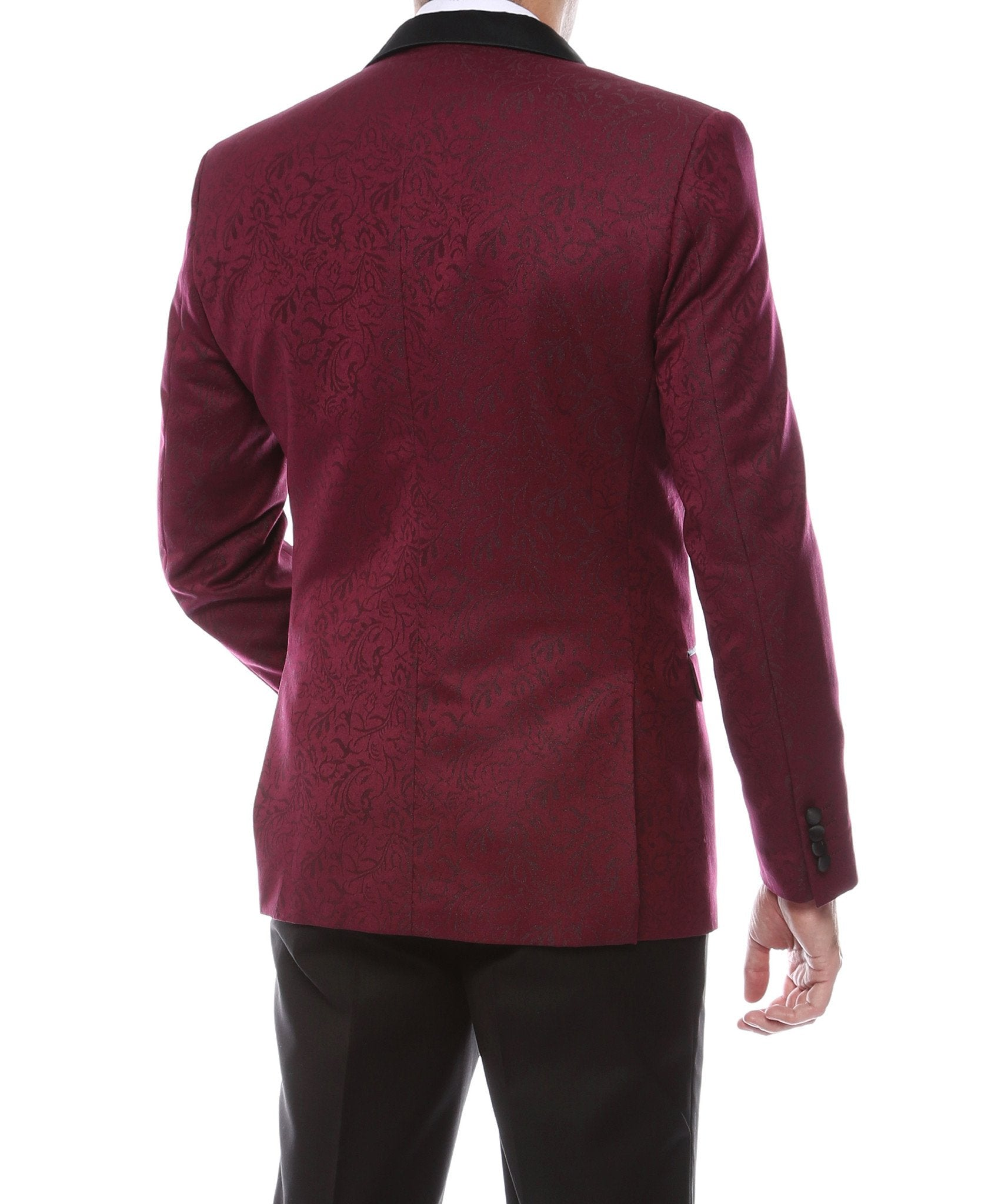 Pandora Mens Burgundy Tapestry Super Slim Fit Notch Lapel Tuxedo Blazer - Giorgio's Menswear