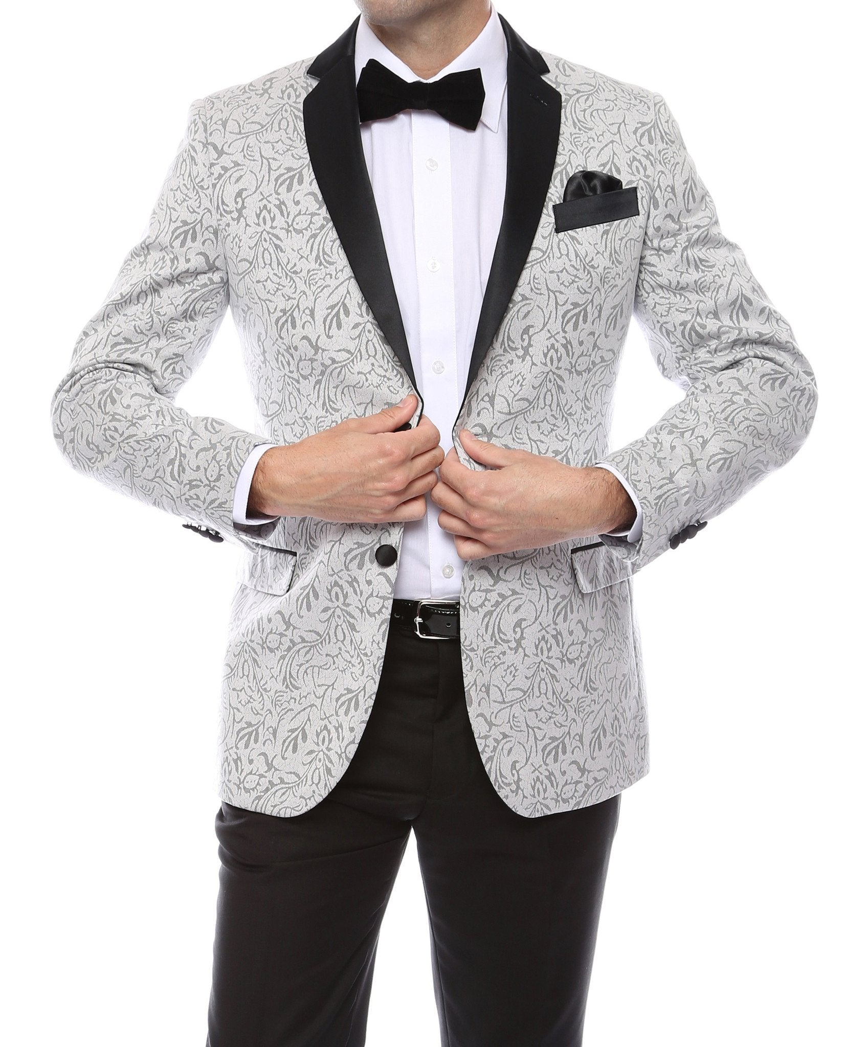 Pandora Mens Silver Tapestry Super Slim Fit Notch Lapel Tuxedo Blazer - Giorgio's Menswear