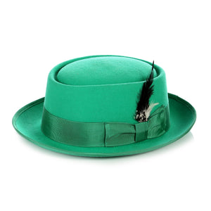 Green Wool Pork Pie Hat - Giorgio's Menswear