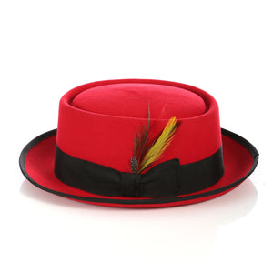 Red Black  Wool Pork Pie Hat - Giorgio's Menswear